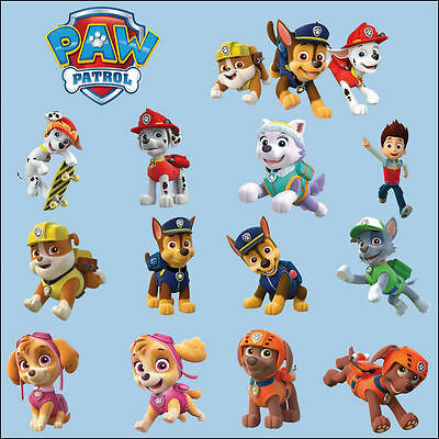 Paw Patrol Childs Bedroom Colour Wall Sticker Transfer Decal Gloss Finish Fit A5