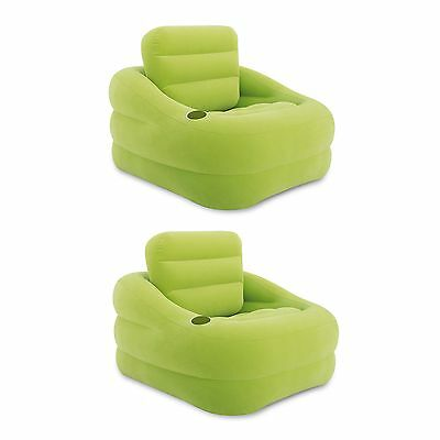 Intex Inflatable Indoor or Outdoor Accent Chair with Cup Holder, Green (2 Pack)