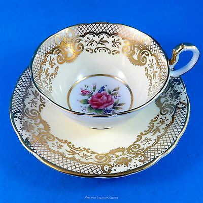 Peachy Pink and Gold Design Border with Florals Aynsley Tea Cup and Saucer Set