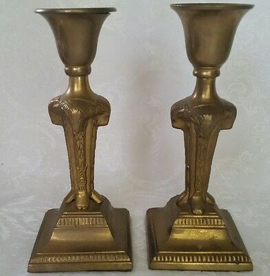 "Vintage Art Deco Bronze/brass 4 Rams Heads Candle Holders 8"" Unique"