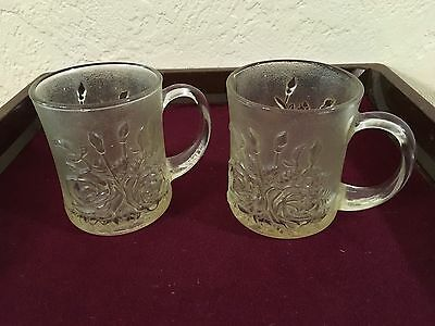 Vintage Glass Pasari Liva Pressed Clear Mugs 2 Cups Roses Frosted Indonesia
