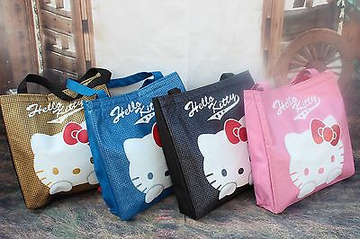 OFFERTA-Borsa Shopper Hello Kitty 36030 NERA ROSA BLU ORO DONNA RAGAZZA SANRIO