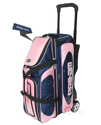 ABS Premium Silent Roller Bowling Bag 3-Ball Pocket Pink Navy Color Authentic