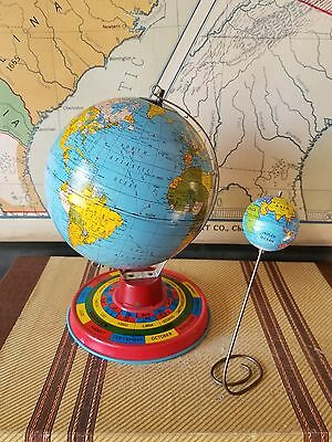 Antique Vintage Miniature Globe Metal Toy Circa 1950