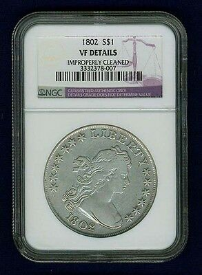 "U.s.  1802  Draped Bust Silver Dollar Coin, Ngc Certified ""genuine, Vf Details"""