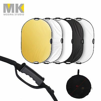 Selens 5 in 1 80x120cm Handheld Collapsible Oval Reflector Disc with 3 Handle