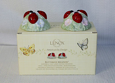 "Lenox Butterfly Meadow ""Ladybug"" Salt & Pepper Shakers Brand New In Original Box"