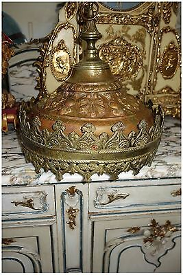 Antique French Bronze Sanctuary Hanging Lantern Chandelier Lamp