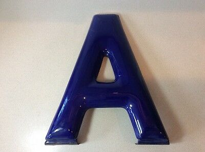 "Vintage Large Porcelain Enamel Metal Sign Letter ""a""  16"" Tall Purple~Blue Wall"