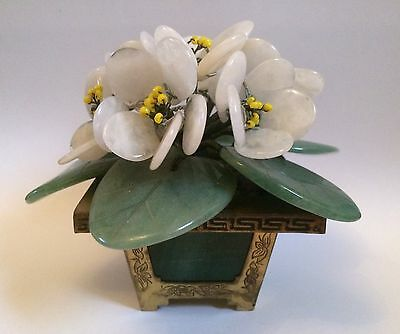 Vintage Chinese Jade Stone Carved Flower Pot With Brass Gilded Pot