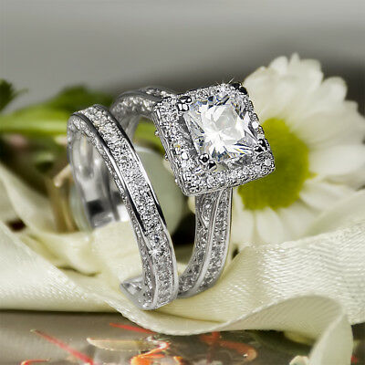 Engagement Promise RING Wedding BAND SET 2.7 Ct White Gold Plated SIZE 5-10 May