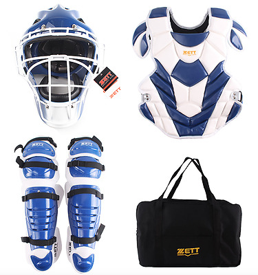 ZETT Baseball Catcher Protection Gear Set Blue White - Authentic