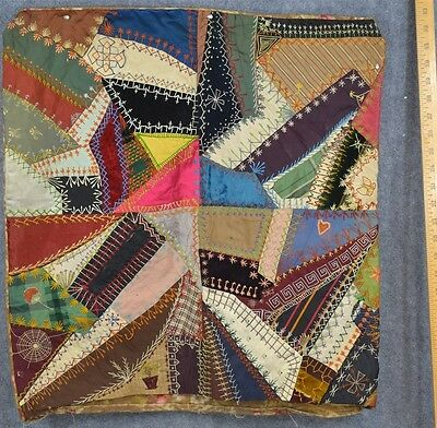 crazy quilt pillow cover velvet silk embroidery 22  in. antique  original 1800