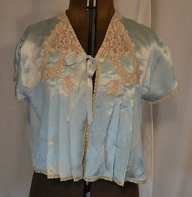 Bed jacket shirt blouse lingerie blue satin lace 1930-40 WWII antique original