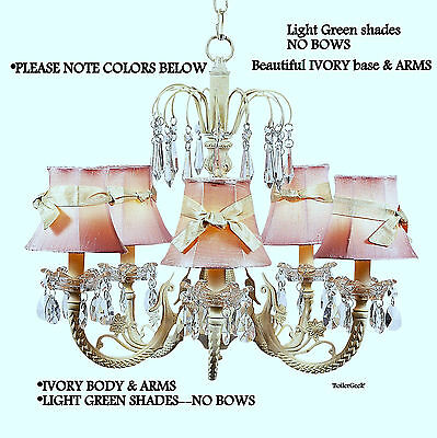 BRAND NEW IN BOX!  JUBILEE 5-ARM CHANDELIER  IVORY with LIGHT GREEN SHADES