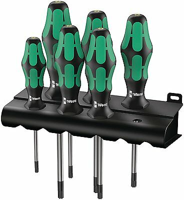 Wera 05028062001 Kraftform Plus 367/6 Torx Screwdriver Set and Rack, 6-Piece