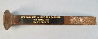 New York City & Northern Railroad Vintage Rail Cut Spike Crampon Railroadiana O