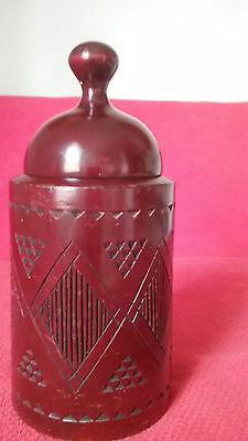 "Antique Russian Carved Wood Tobacco/tea Jar Or Box ""made In Russia"""