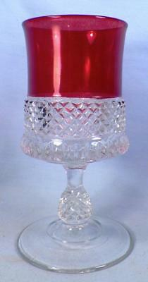 Ruby Stained Goblet Early American Pattern Glass Diamonds Ovals Antique HELP