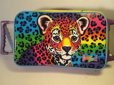 Lisa Frank 1990s Tiger Luggage Bag w Wheels / Carry Case Suitcase Purple