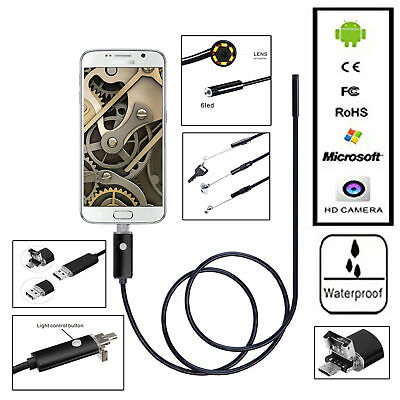 2M/6.6Ft Android Endoscope 8mm 6 LED USB Waterproof Borescope Inspection Camera