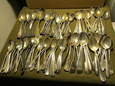 100 Silver Plate large size Spoon Flatware Lot. poor to good condition #89