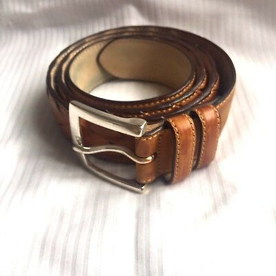Brooks Brothers Carmel Brown Genuine Leather Braided Alligator Belt Size 36