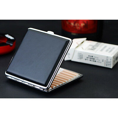 Black Faux Leather Metal  Leather Cigarette Case Box Hold For 20 Cigarettes