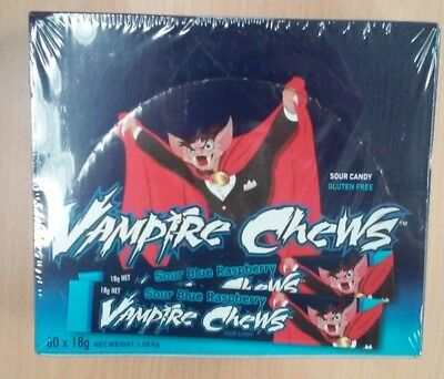 Vampire Chew Sour Blue Raspberry Bar 18g (1 Box of 60 Bars)