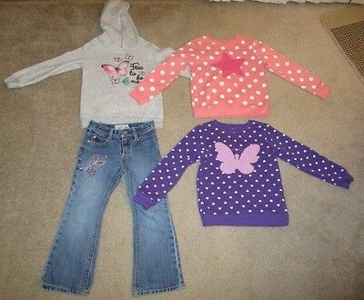 Girls Fall Winter Clothes Size 5. Lot of 4. Sweatshirts Jeans Hoodie. GUC.