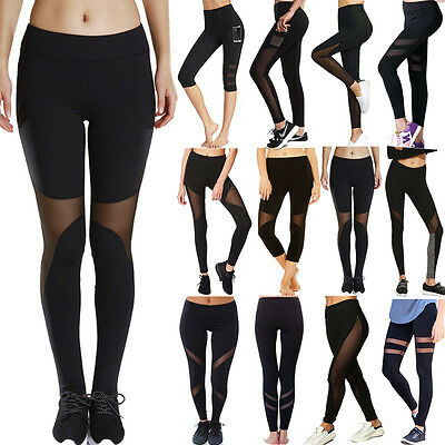 Women Yoga Leggings High Waist Fitness Pants Mesh Gym Athletic Running Trousers