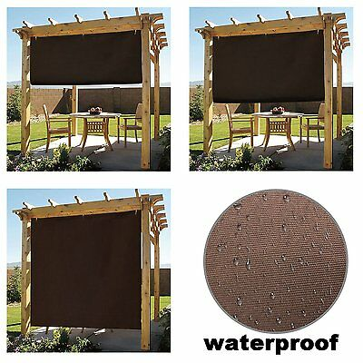Waterproof 8x8ft Coffee Adjustable Side SunShade Panel Wall for Pergola/Patio