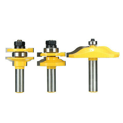 3pcs 1/2 Inch Shank Two flute Raised Panel Cabinet Door Router Bit Set With Wood
