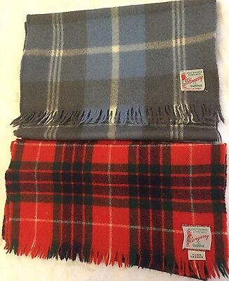 Plaid Wool Scarves Glengarry Currie Vintage Hand Loomed Red Blue Yellow  - Of 2