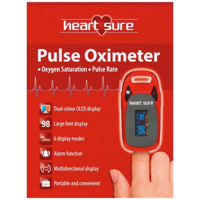 Heart Sure Pulse Oximeter Measure your Oxygen Saturation & Pulse Rate Heartsure