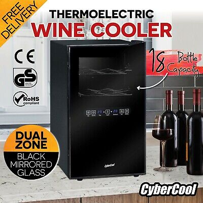 New CyberCool Black Mirror Finish 18 Bottle Dual Zone Wine Cooler Fridge Cellar