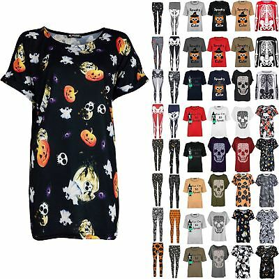 Ladies Halloween Fancy Costume Baggy Oversized Womens Leggings Tee T Shirt Top