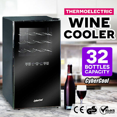New CyberCool Black Mirror Finish 32 Bottle Dual Zone Wine Cooler Fridge Cellar