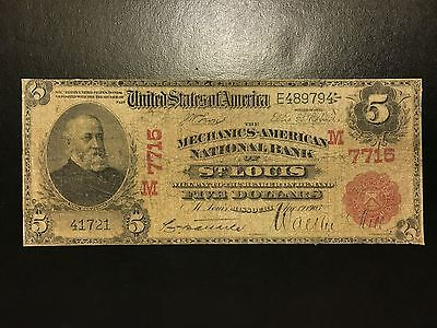 1902 $5 Five Dollar Red Seal National Bank Note St. Louis (Ch.7715) VG