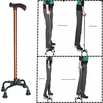 Height Adjustable Aluminium Quad Cane Walking Stick Four Legs Center Base Aid