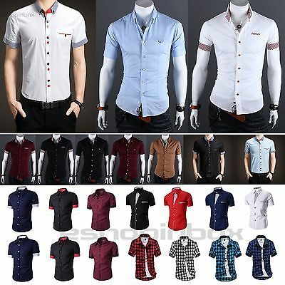 Mens Short Sleeve Checked Shirt Formal Business Plain Slim T Shirt Casual Tops