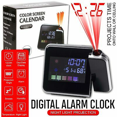 Digital LED Projection Alarm Clock Weather LCD Snooze Color Display w/ Backlight