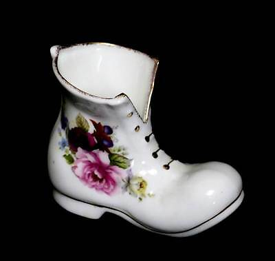 Vintage Summer Rose pink roses bone china pretty boot ornament