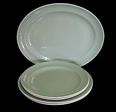 Vintage set of 5 Poole Pottery Cameo 1952-55 dusky green plates and platters