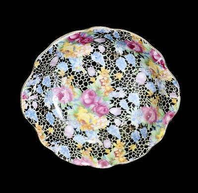 Vintage Superior Japan black floral chintz pretty pin dish in good condition