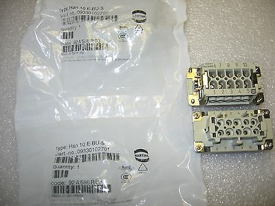 Lot of 4) Harting Han 10 E-BUS-S Power Connector Inserts 09330102701- New