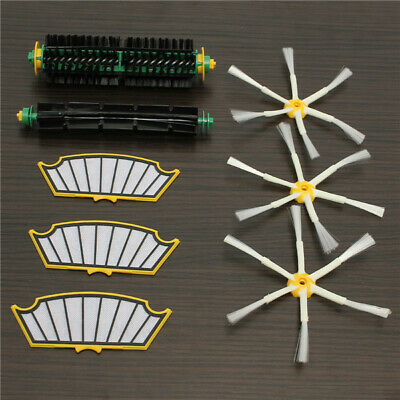 8pcs Filters with Brush Kit 6-armed Brush for iRobot Roomba 500 Series Vacuum Pa
