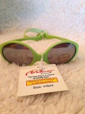 SeeWees Infant Baby Sunglasses With Strap, Lime Green, UV 400, RX-able, By Amcon