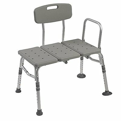 Plastic Tub Transfer Bench with Adjustable Backrest Gray Other Accessibility