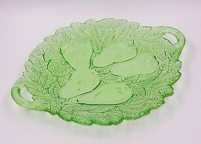 Beautiful Sweet Pear Indiana Green Depression Glass Two Handle Serving Dish